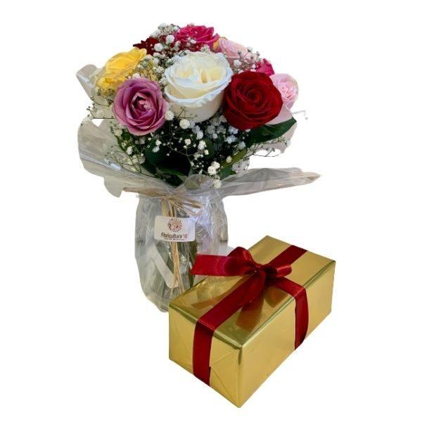 Buque de flores com caixa de bombom