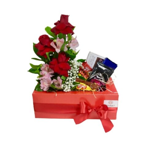 Presente com flores e chocolates