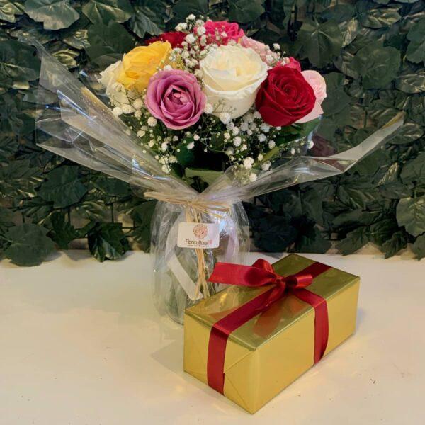 Buque de flores colorida com chocolates